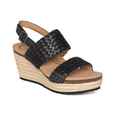 Summer Woven Quarter Strap Wedge