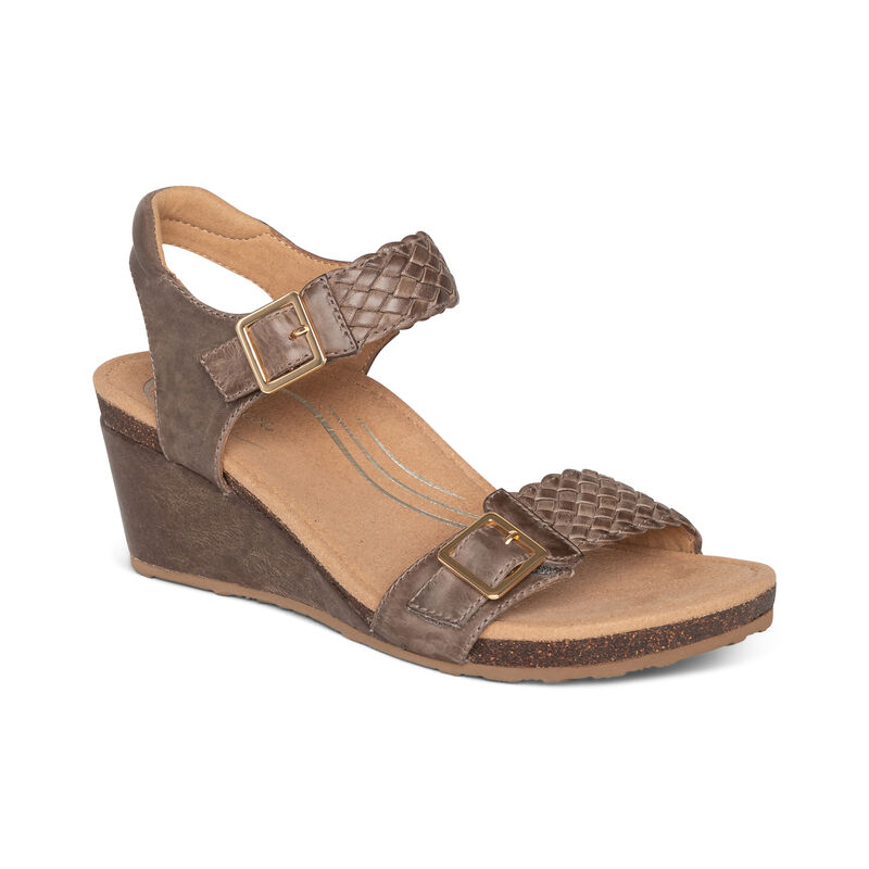 Aetrex Grace Woven Leather Wedge