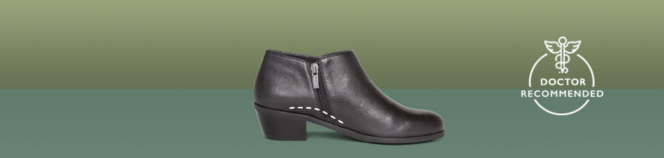 Laurel, like all of our ankle boots, incorporates our Signature Arch Support to fight foot pain where it counts.